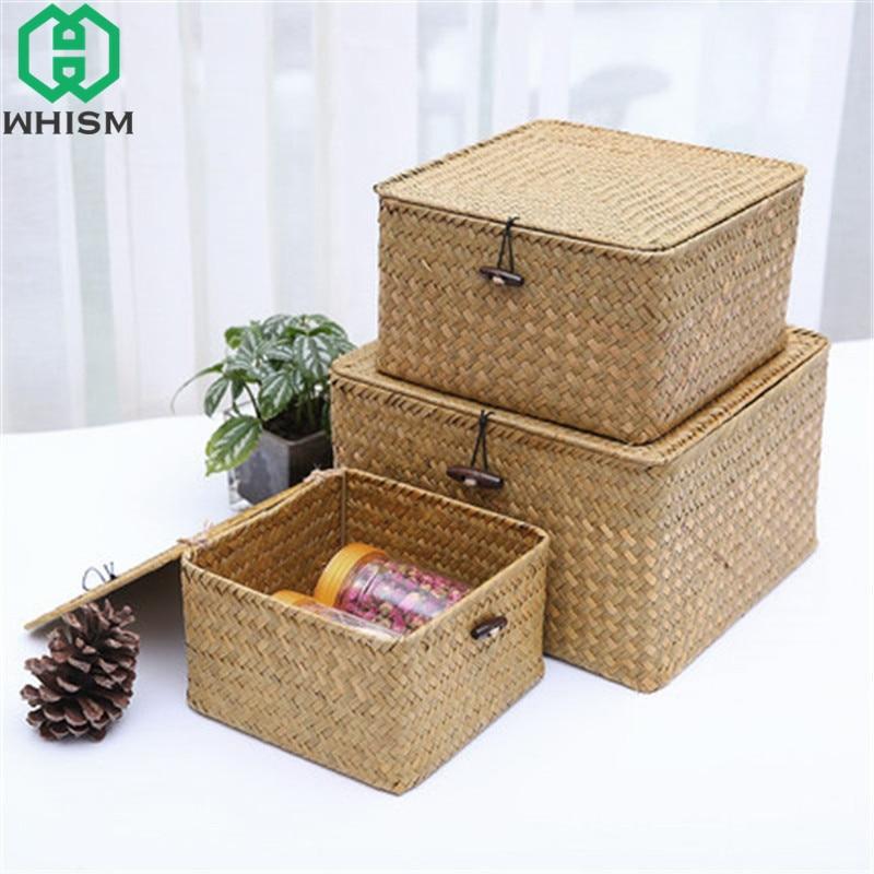 WHISM Rattan Storage Box With Lid Wicker Makeup Organizer Storage Basket Jewelry Container Sundries Holder Storage Boxes Bins makeup organizer box