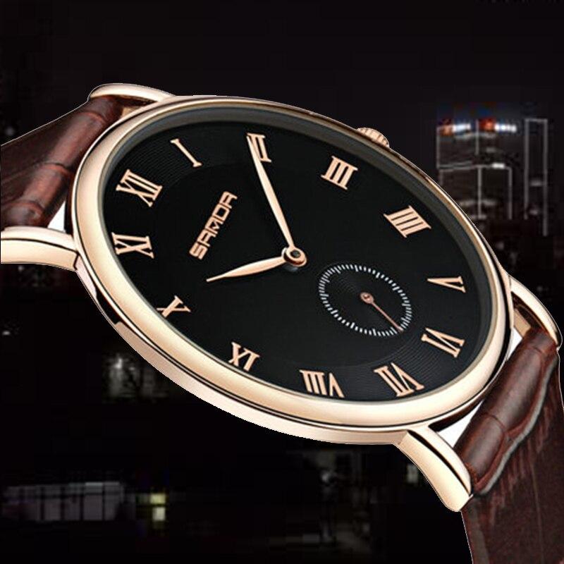 Super Slim Quartz Casual Wristwatch Business Geneva SANDA Brand Leather Analog Quartz Watch Men's Fashion Relojes Hombre 2018