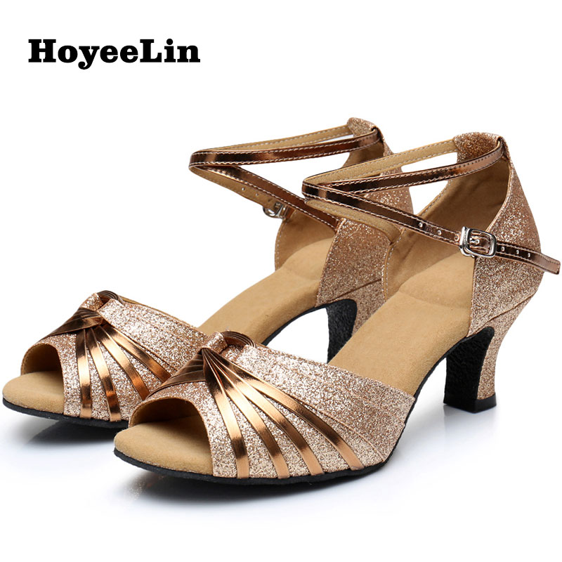 New Latin Dance Shoes for Adults Women Mid Heeled 5.5cm Open Toe Ballroom Party Tango Salsa Dancing Performance Shoes Sandals