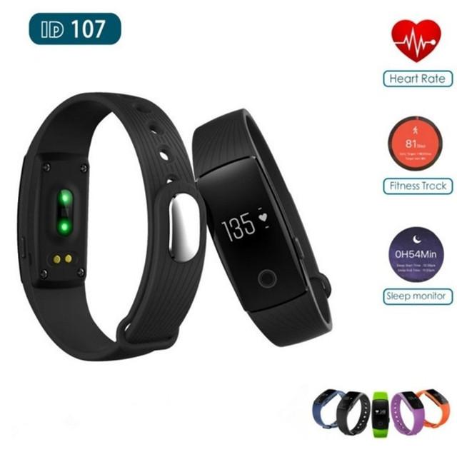 ID107 Bluetooth Pulsera Inteligente Perseguidor de La Aptitud Del Ritmo Cardíaco Llamada de Alarma Pulsera Inteligente Para IOS Android Perseguidor Del Deporte Smartband