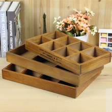 Home Decoration Retro Wooden Wall Hanging Storage Holder Bedside 8 Section Divided Two-layer Sorting Rack