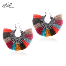 Badu Big Vintage Hoop Earring for Women Colorful Cotton Tassel Antique Silver Alloy Earrings Dangle Ear Accessories Wholesale