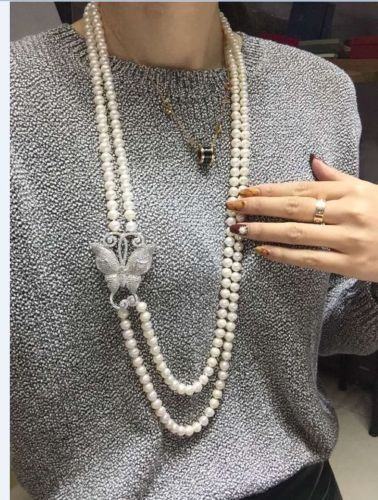 sterling silver cherry necklace> double strands 9-10mm round south sea white pearl necklace 22-24inch fashion new classic 9 10mm south sea round white pearl necklace 60inch