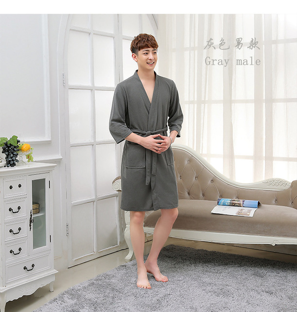 Kimono New Robes Direct Selling Cotton Polyester Solid Dressing Gown Bath Robe 2016 Couple Night Comfort Hotel Bathrobe