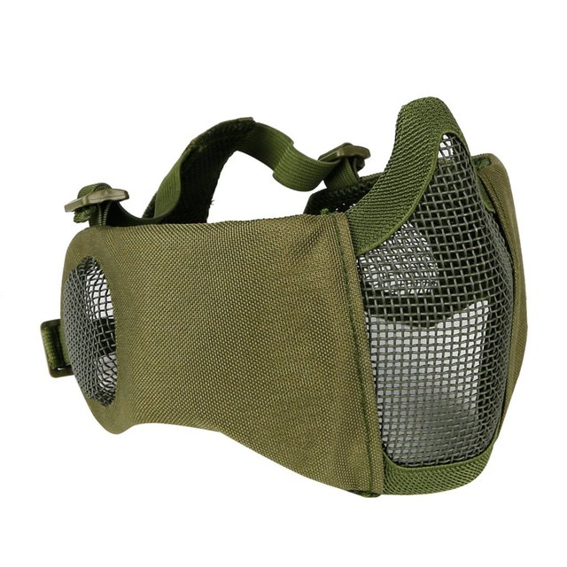 Tactical Airsoft Mask Half Lower Face Metal Steel Net The Field Elite Ear Protection Outdoor Cycling Steel Tactical Mask