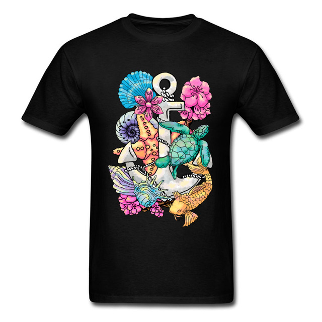 4d36dc84f13 Sea Life 2018 New Men Fish Creatures T-shirts Anchor Turtle Shell Cartoon Tee  Shirt Digital Print Quality Unfading Clothes