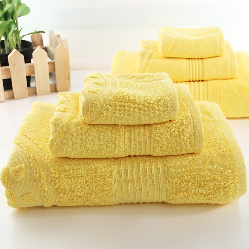 3 Piece /set Yellow Bamboo Fiber Towel Solid Color Jacquard Face Hand Towel Thick Quick Dry Home Hotel Big Bathroom Towel Set