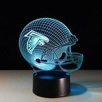 K441 3D NFL Atlanta Falcons Futebol Modelo Estilo lâmpada LED 7 Cor Mudar lâmpada Atmosfera Lâmpada Quarto Decoração de Mesa para Casa