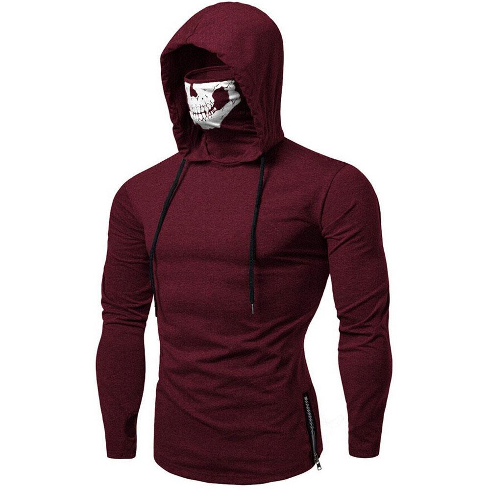 Модная футболка с длинными рукавами с черепом, Готическая Повседневная Спортивная футболка с капюшоном, уличная крутая Мужская футболка для путешествий - Цвет: wine red