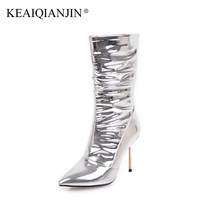 KEAIQIANJIN Woman Silver Ankle Boots Patent Leather Winter Wedding Boots Plus Size 32 43 Pointed Toe