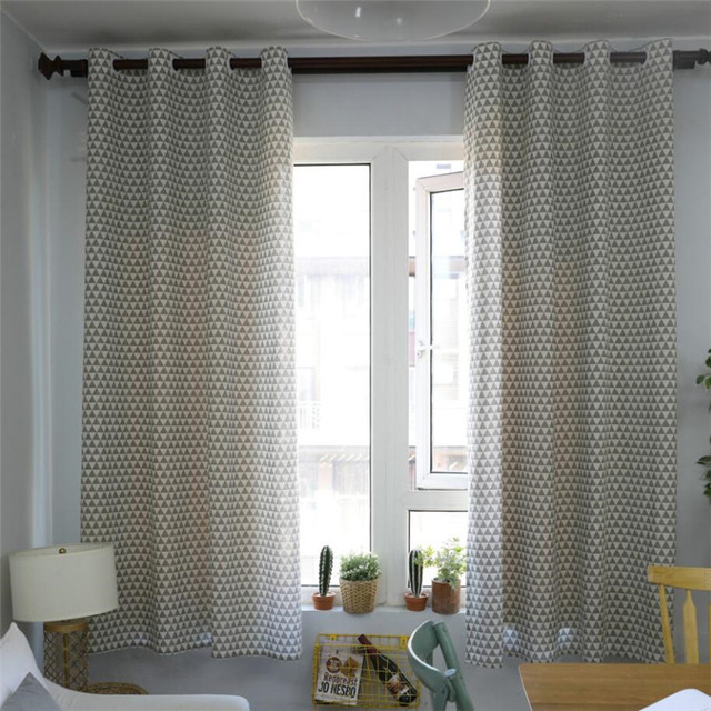 Triangle Nordic Style Linen Cotton Blackout Curtains For Living Room