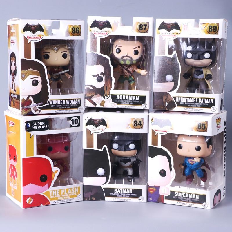 POP Justice League Super Hero Wonder Woman Aquaman The Flash Superman Batman Model Figure Collection Model Toys Free Shipping