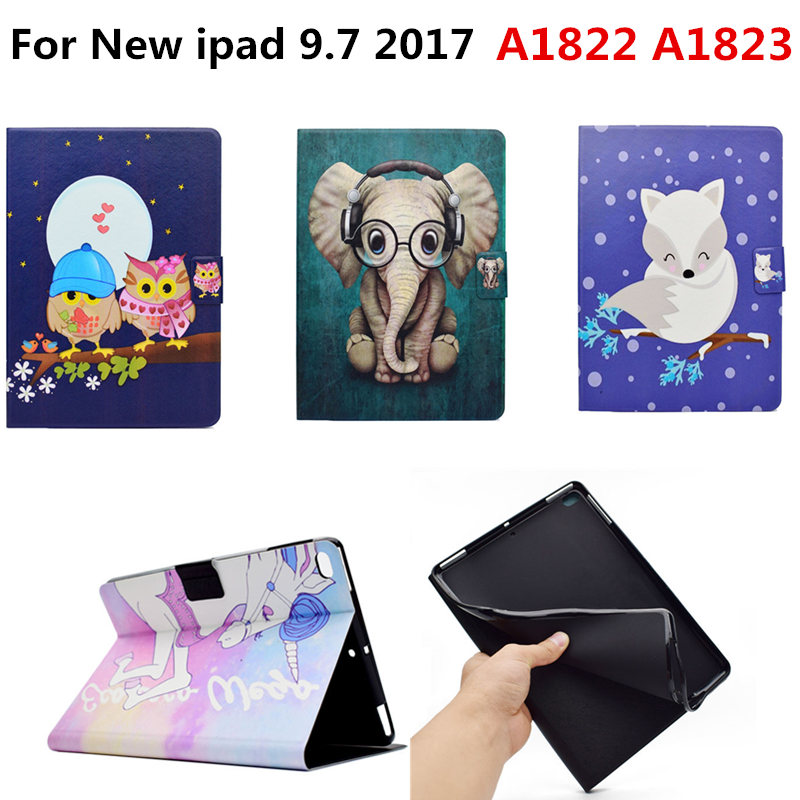 Fashion Cute Cartoon PU Leather Flip Smart Stand Cover Funda TPU Shell Case For Apple New iPad 9.7 inch 2017 Tablet A1822 A1823 jialong mini 4 smart pu leather case for apple ipad mini 4 7 9 tablet flip cover soft tpu back cover cute little girl yao