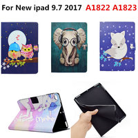 Fashion Cute Cartoon PU Leather Flip Smart Stand Cover Funda TPU Shell Case For Apple New