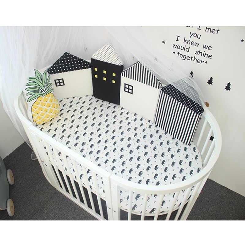 4 unids/set de algodón en forma de Casa Cuna con parachoques cuna almohada cojín suave niños cama Pretector Pads niños habitación decoración regalos para recién nacidos