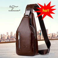 Men S Shoulder Bag Breasts Single Shoulder Bag Belt Back Bag PU Travel Men Crossbody Bags