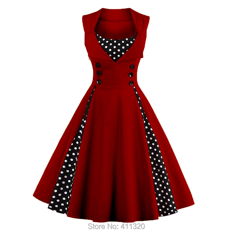 Womens Red Vintage Dress Polka Dots Patchwork 50s 60s 70s Retro Style Pin up Rockabilly Swing Wedding Party Dresses robe femme (5)