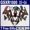 Custom Injection Molding Fairings For Suzuki 2005 Gsxr 1000 K5 2006 Kits 05 06 Red Flame