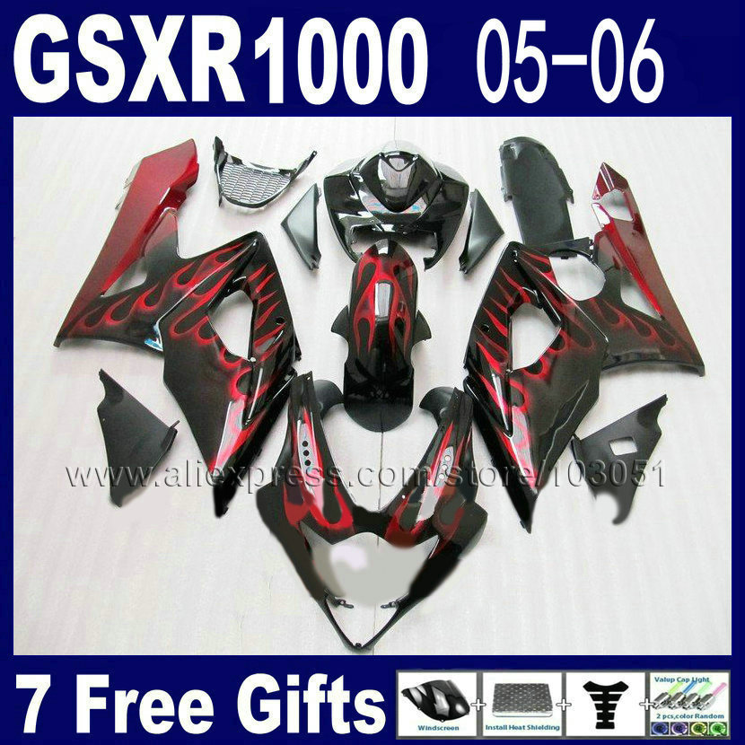 Custom Injection molding fairings for suzuki  2005 gsxr 1000 K5 2006 kits 05 06 red flame in black motorcycle fairing kits custom injection molded motorcycle fairings kits for suzuki 2005 k5 black silver 2006 gsxr1000 05 gsxr 1000 06 fairing kit