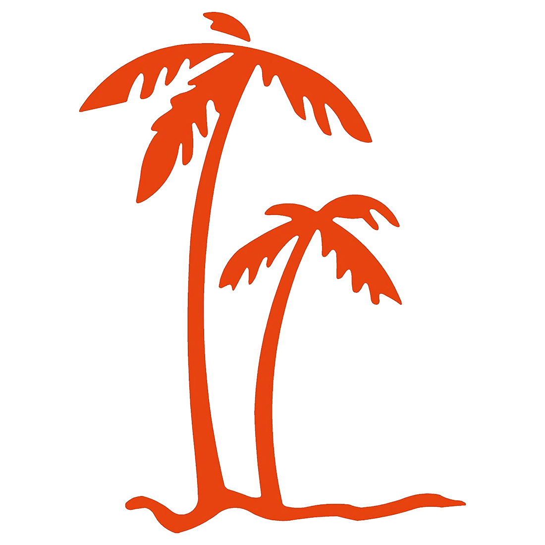 PALM TREES - Tropical Beach - Decal (12inch, Orange)