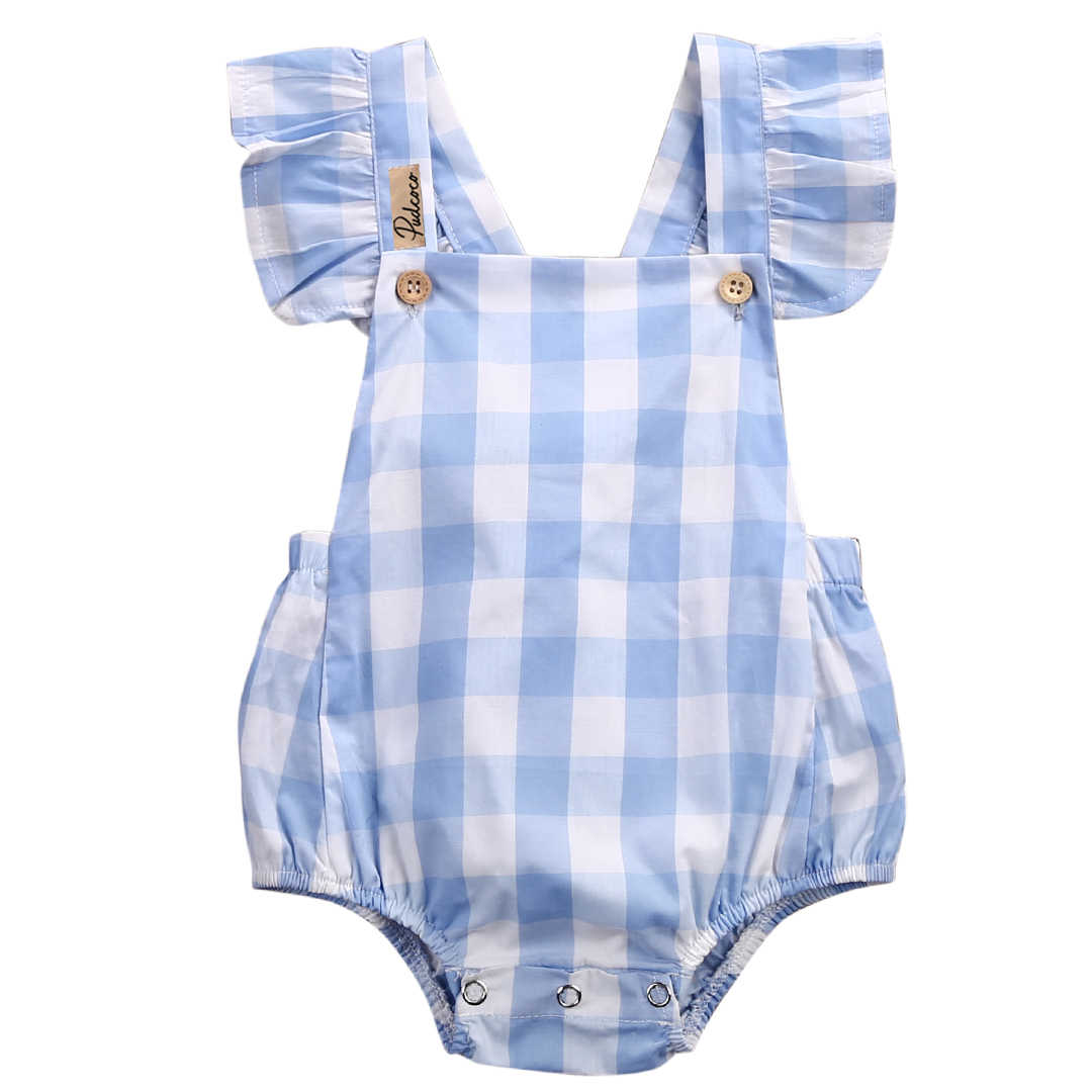 UK Fahion Newborn Infant Baby Girl Striped Clothes Strap Romper Jumpsuit Outfit