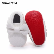 Hongteya Baby Shoes first walkers Handmade Soft red Bottom Newborn Baby Moccasin Fashion knot PU leather Prewalkers Boots(China)