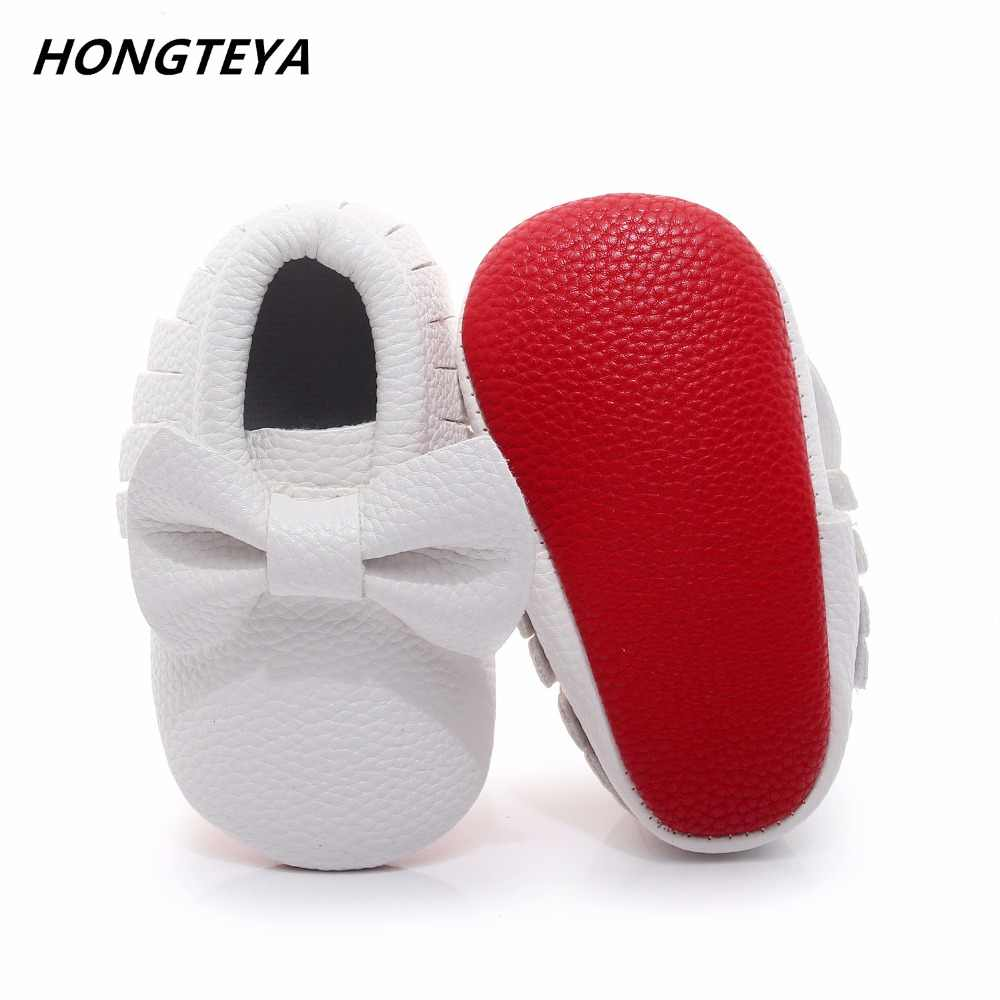 ab41e5d68ea2 Hongteya Baby Shoes first walkers Handmade Soft red Bottom Newborn Baby  Moccasin Fashion knot PU leather