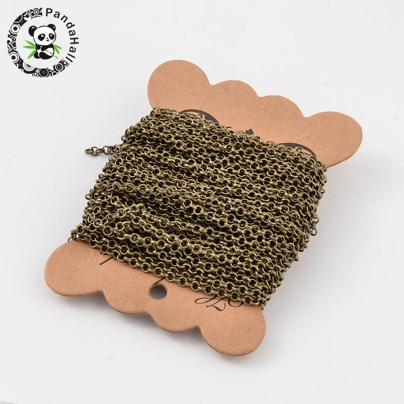 20m HOT 3x1mm Iron Cross Rolo Chain Linking Jewelry Making Component Supplies Lead Nickel Free Antique Bronze Color Come On Reel