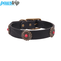 pawstrip-bronze-flower-large-dog-collar-leather-adjustable-puppy-collar-2530cm-width-big-dog-collar-lead