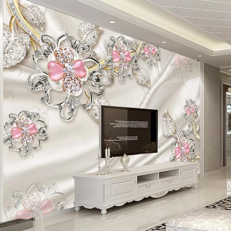 Custom Mural Papel De Parede 3D Wallpaper Luxury Jewelry Diamond Flower 3D Living Room TV Background Wall Decor Wallpaper Murals