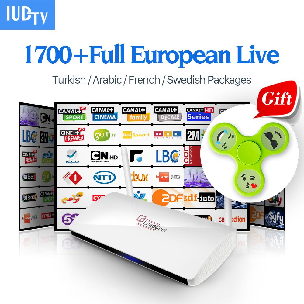 Prix pour Leadcool Android TV Set Top Box TV Récepteur 3 \ 6 \ 12 Mois Iudtv Abonnement IPTV Français Suède Arabe l'europe Canaux Top Box