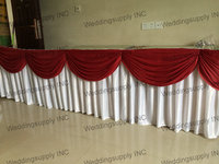 5 Pieces Luxury wedding table skirt with burgundy swag table skirting with pleated drape table linen