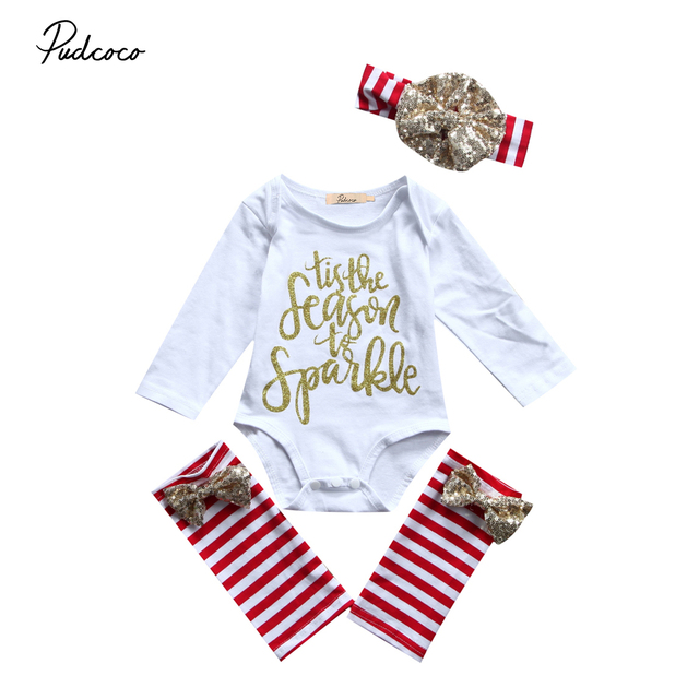 2146e273b Xmas Kids Baby Girl 3pcs Outfits Set Long Sleeve Letters Jumpsuit Rompers  Stripe Sequins Leg Warmers Headband Christmas Clothing