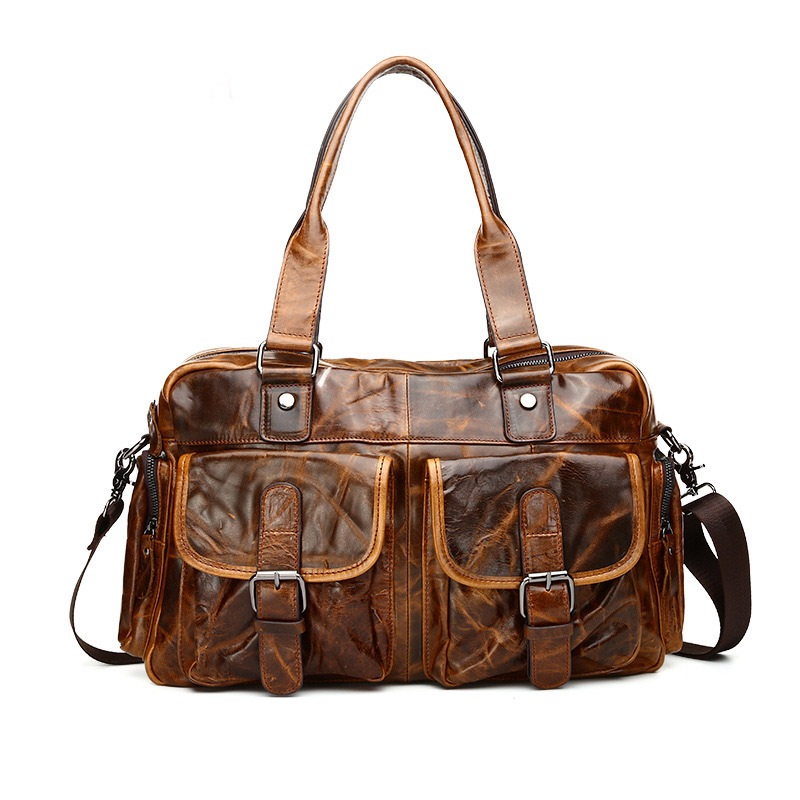 Vintage Oil Wax Genuine Leather Male Package Shoulder Messenger Bag Large Capacity Travel Casual Totes Hangbag Top Handle Bag 2017 luxury brand women handbag oil wax leather vintage casual tote large capacity shoulder bag big ladies messenger bag bolsa