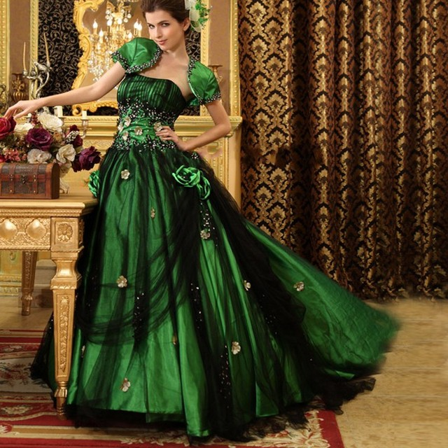 Gothic Quinceanera Dresses with Jacket Appliques Retro Green Black ...