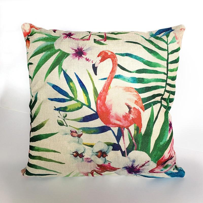 Plant Flower Pink flamingo Cushion Pillow Case Cover Decorative Pillows Covers Linen Cotton For Sofa Decor Home Bohemian Throw