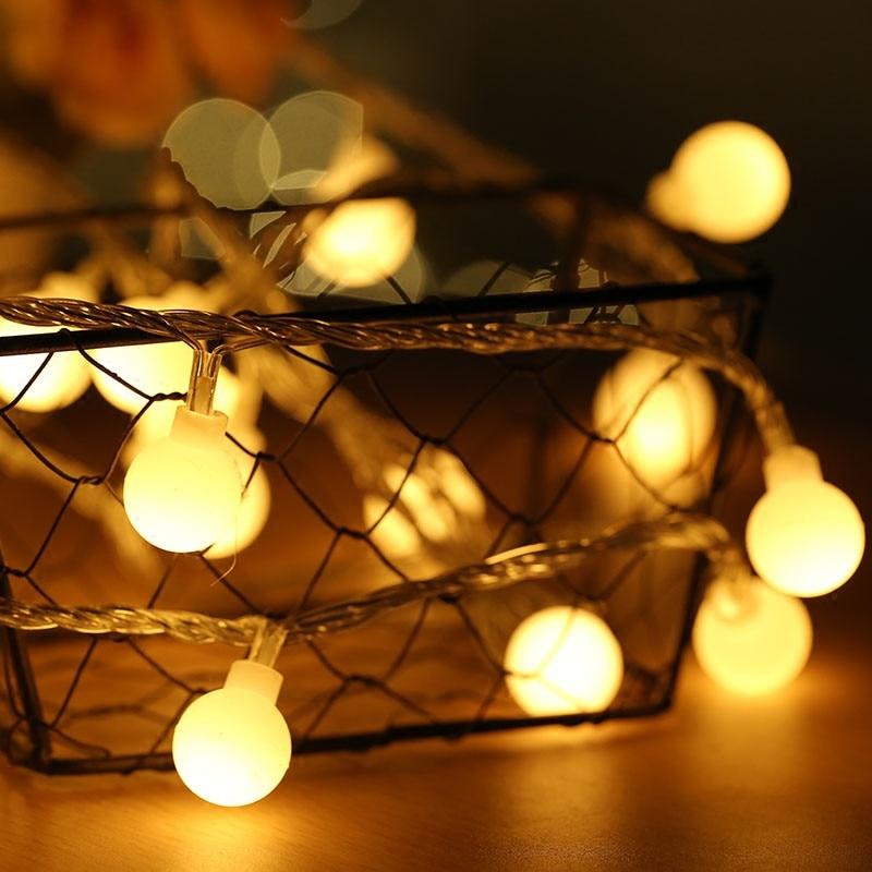 NEW 2M 5M 10M USB 5V Globe Ball LED String Lights Christmas Holiday Wedding Party Festival Decoration Garland Fairy Lights
