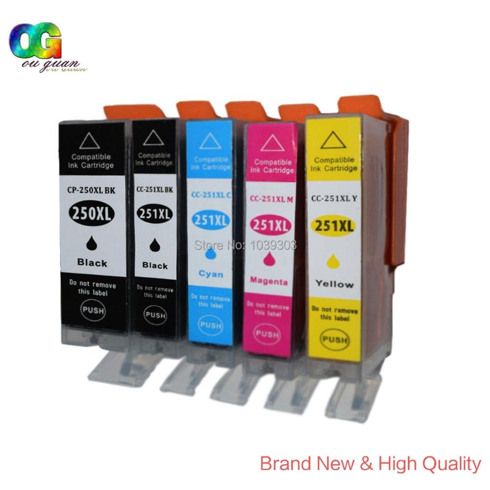 5pk High Yield Pgi 250xl Cli 251xl Ink Cartridge Set Compatible For Canon 29 Cyan Pixma Mx922 Mx722 In Cartridges From Computer Office On