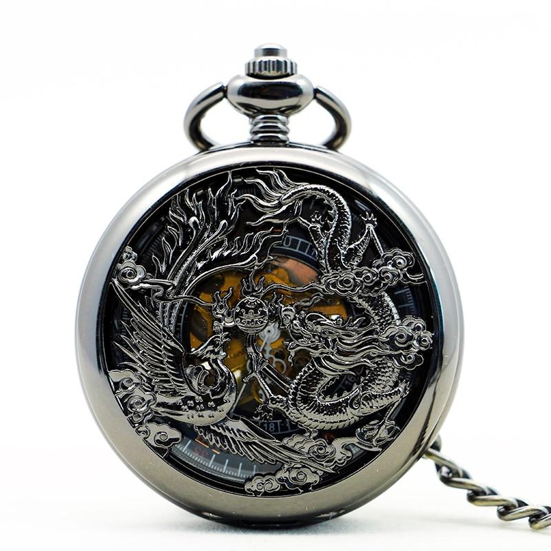 New Retro Vintage Mechanical Pocket Watch Dragon Phoenix Hollow Fob Watch Roman Number Black Dial For Men Women PJX1151