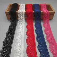 10 Yard Mooi hoogwaardig elastisch stretch kant lint Franse afrikaanse kanten afwerking voor naaien accessoires breed wit kant