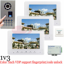 Waterproof(IP65)1v3 Fingerprint/Code unlock Color Video Door Phone Doorbell Intercom Kit door bells fingerprint outdoor camera!