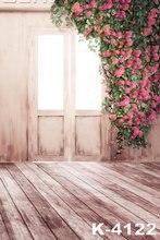 5 피트 * 7 피트 로맨틱 핑크 장미 웨딩 디지털 사진 배경 커플 사진 스튜디오 배경 소품 나무 마루 문에 서서