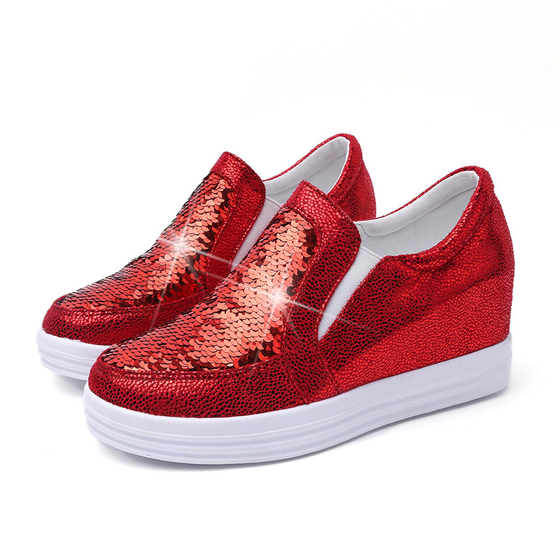 Spring and summer sequins Cloth Single shoes Female Breathable Lazy Feet Raft shoes Increased Thick crust Casual shoes