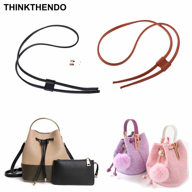 Women Girls Detachable PU Leather Bag Strap Belt Bucket Bags Drawstring Bunches Backpack Beam Pocket Accessories