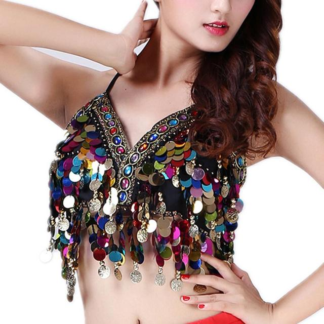 f749dd36d3 Rainbow Sequin Tassel Sexy Camis Mermaid Body Chain Sequin Bralet Beach  Mirror Harness Crop Festival Tanks Top Ropa Mujer