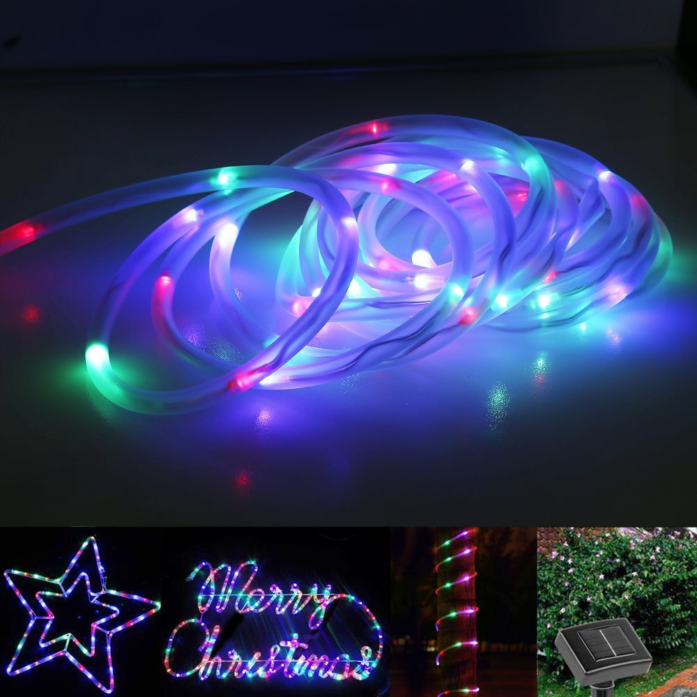 LED Solar Rope Lights Waterproof 7M 50 LEDs Portable with Light Sensor Outdoor Rope Lights, Ideal for Christmas, Wedding, Party