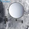 2014 higiene bucal de afeitar espejo del baño montado en la pared de acero inoxidable de 8 pulgadas doble espejo de aumento ( 1:1 y 1:3 ) envío gratis