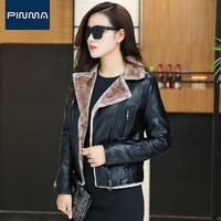 New Womens Designer Faux Shearling Jacket Suede Korean Black Red Frmale Workwear Pu Coats Brand Winter