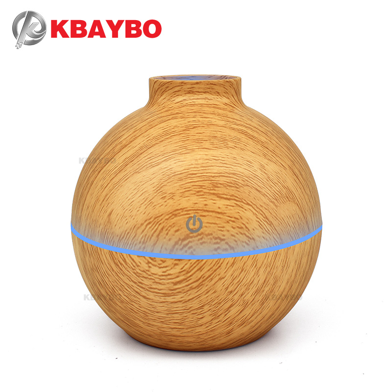 USB Aroma Essential Oil Diffuser Ultrasonic Cool Mist Humidifier Air Purifier 7 Warna Perubahan LED Light untuk Office Home 130ml