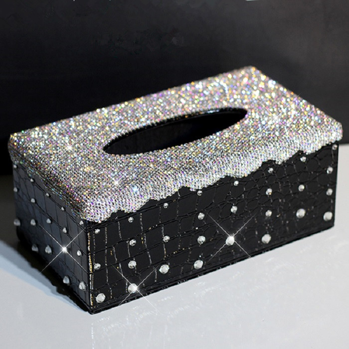 Luxury White Crystal Leather Car Tissue Box Bling Diamond Decorative Auto Tissue Paper Towel Box for Europe Car ...